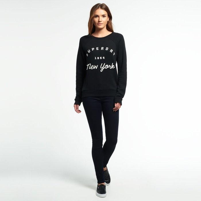 Superdry 極度乾燥女生貼布電繡圓領大學T 羅紋手袖和下擺潮流黑色XS L 號