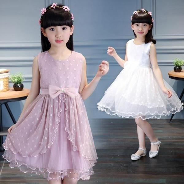 女童禮服裙 兒童無袖禮服女花童蓬蓬公主裙鋼琴合唱演出服白色本禮服 出租均可A62