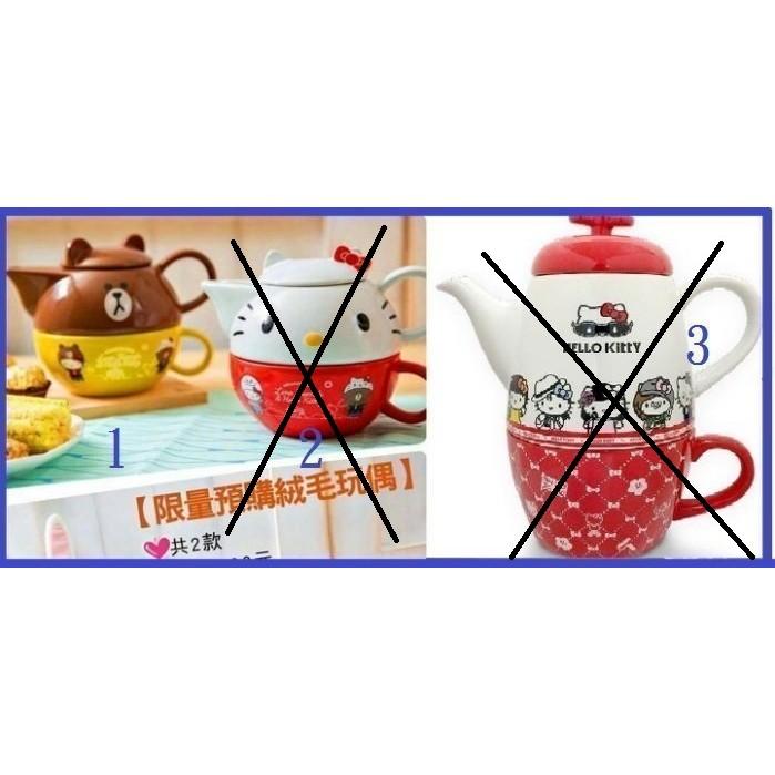 7 11 Hello Kitty X LINE ~下午茶壺組~蛋黃哥史努比藍寶堅尼馬來貘杜