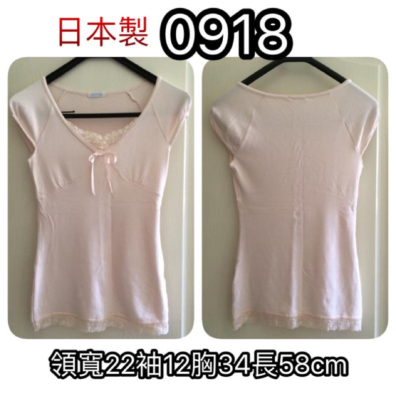 A59 衣物0918 品牌包袖蕾絲合身棉質上衣針織彈性V 領綁結直紋織法粉色F