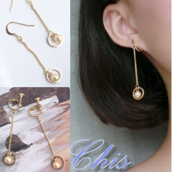 Chis Store ~小圓形內珍珠垂墜耳環~韓國氣質優雅金屬色圓圈圈珠珠點綴垂墜耳線耳勾