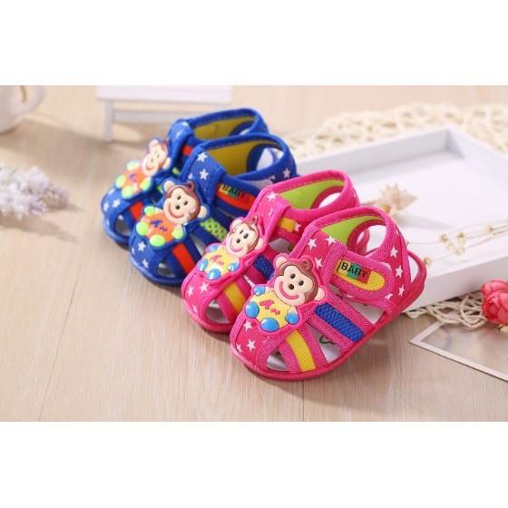 嬰兒學步童機能鞋網布包頭寶寶鞋兒童涼鞋叫叫鞋