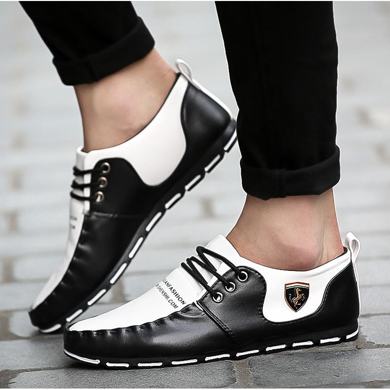 2016 春 男士休閒鞋黑白色透氣男鞋青年豆豆鞋 皮鞋潮流