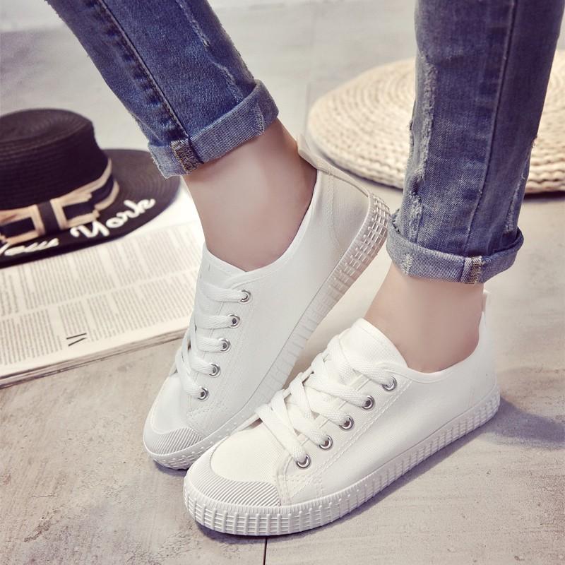 ~酷我 ~2016 春夏白色系帶帆布鞋女鞋平跟平底 鞋學生小白鞋 板鞋