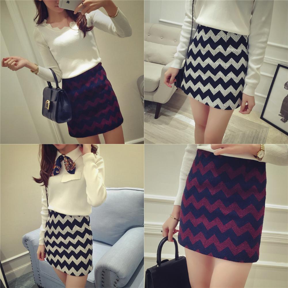 兩色複古撞色波浪紋顯瘦高腰短裙呢料半身裙