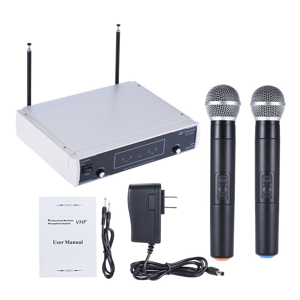 手持VHF 無線麥克風MIC 系統雙通道LCD 顯示屏接收器