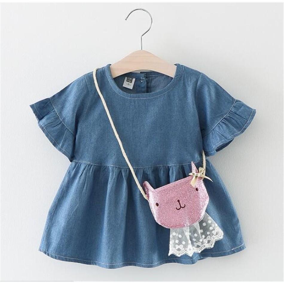 女寶寶純色牛仔圓領童裙洋裝裙送貓咪斜跨装饰