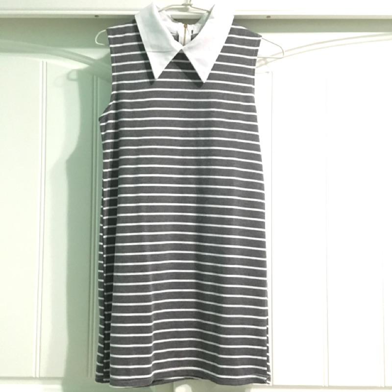 灰色條紋立領無袖洋裝
