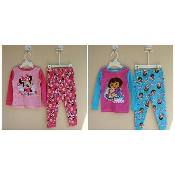 ~伊兒媽~ 粉色米妮、藍色朵拉居家服長袖睡衣睡褲上衣褲子套裝適冷氣房