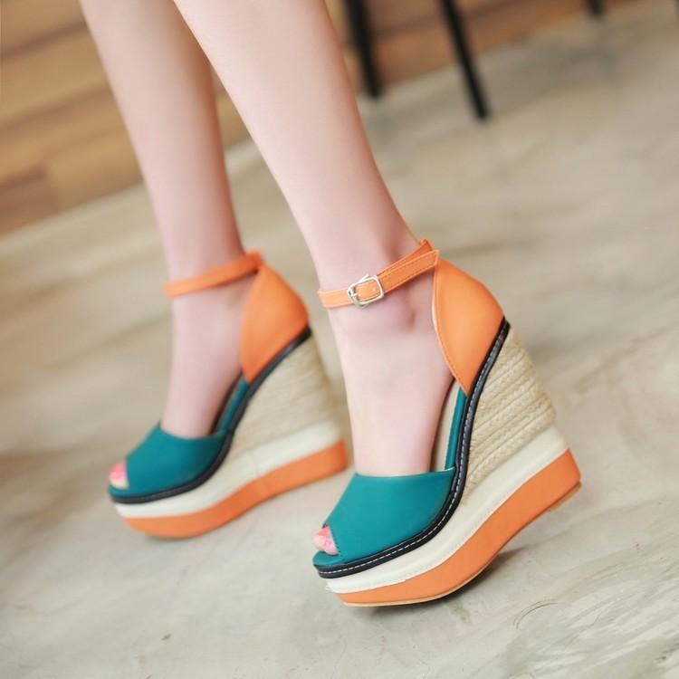 春夏 民族風撞色厚底麻編14CM 坡跟涼鞋羅馬美腿顯瘦超高跟女鞋