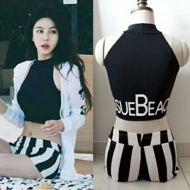 C31 韓國溫泉泳衣女分體平角褲保守小胸聚攏高領顯瘦兩件套游泳衣米奇泳衣