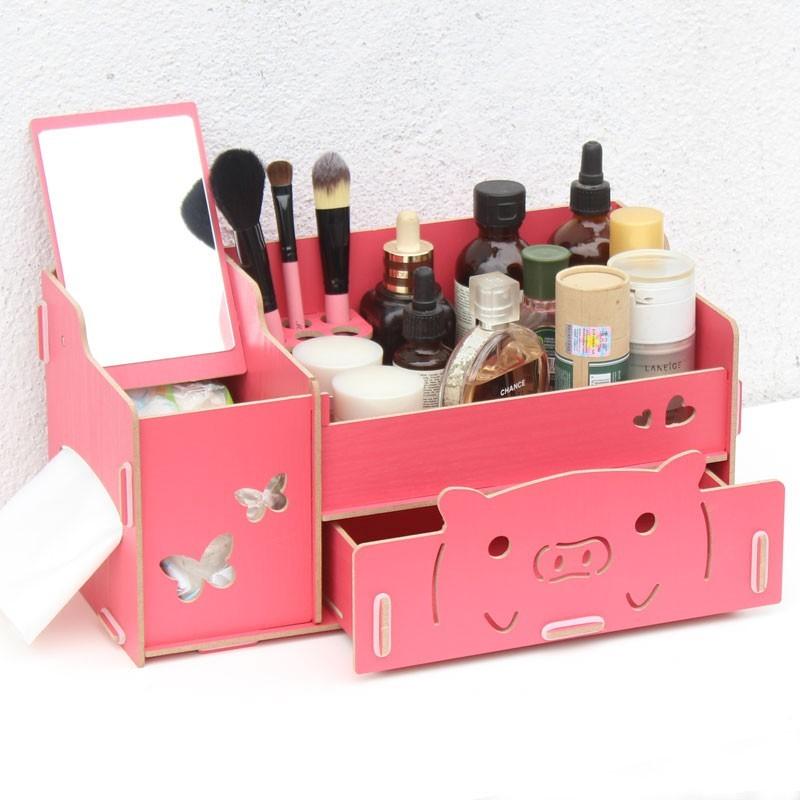 藍格子DIY 木質化妝品收納盒桌面收納盒帶抽屜翻蓋有鏡子大號