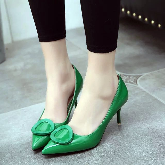 2016  女鞋淺口鞋性感紅色婚鞋尖頭高跟漆皮單鞋舒適工作鞋