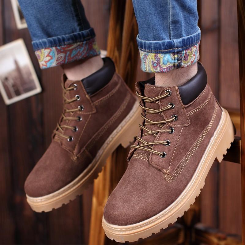 香香的家男鞋 潮鞋真皮高幫馬丁靴短靴英倫男士 反絨皮鞋圓頭工裝鞋