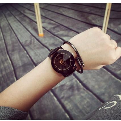 韓國ulzzang 潮流EXO 男女中學生黑白皮帶轉盤情侶對錶 女士手錶