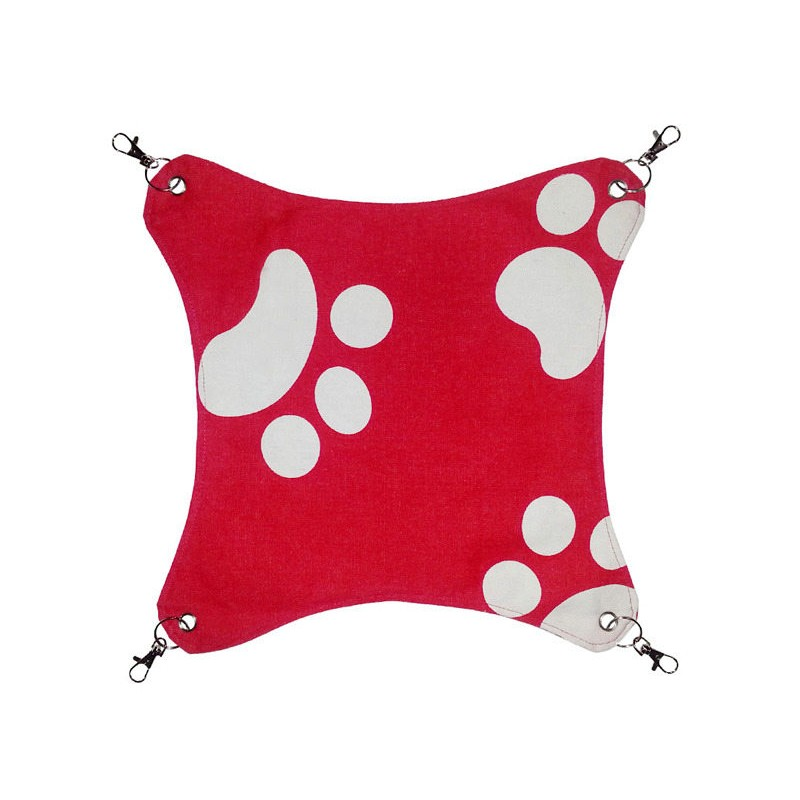GIFUTO 享受貓咪用吊床吊掛睡床寵物窩寵物床兔鼠密袋鼯 用紅色腳印M 中型45x45C