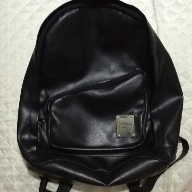 PHSJ 黑色皮革皮質後背包背包