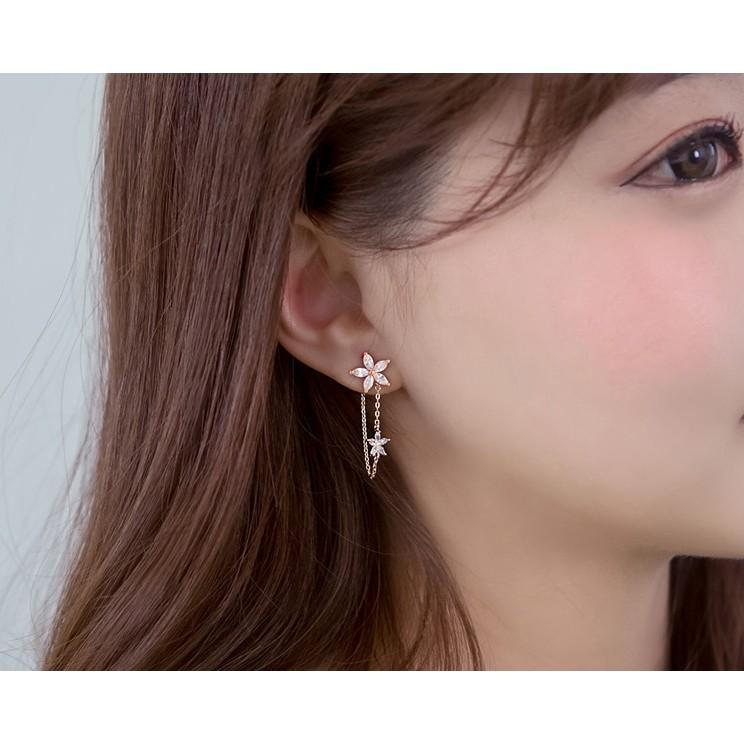 """~茉莉花""""~❤韓系甜美雙花朵純銀長耳環❤"""