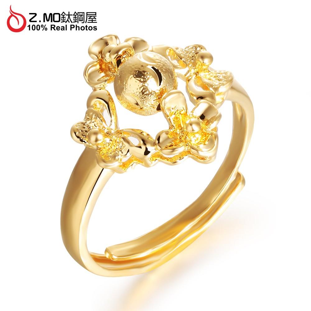 Z MO 鈦鋼屋TBC 025 18K 鍍金貴氣戒指可調式戒圍訂婚結婚飾品 小花燈籠 新娘