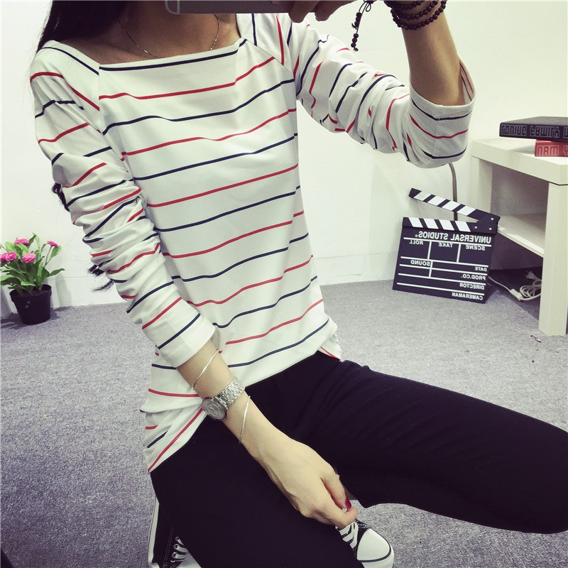 2016 春裝 女裝黑白條紋t 恤長袖大碼修身打底衫上衣學生秋