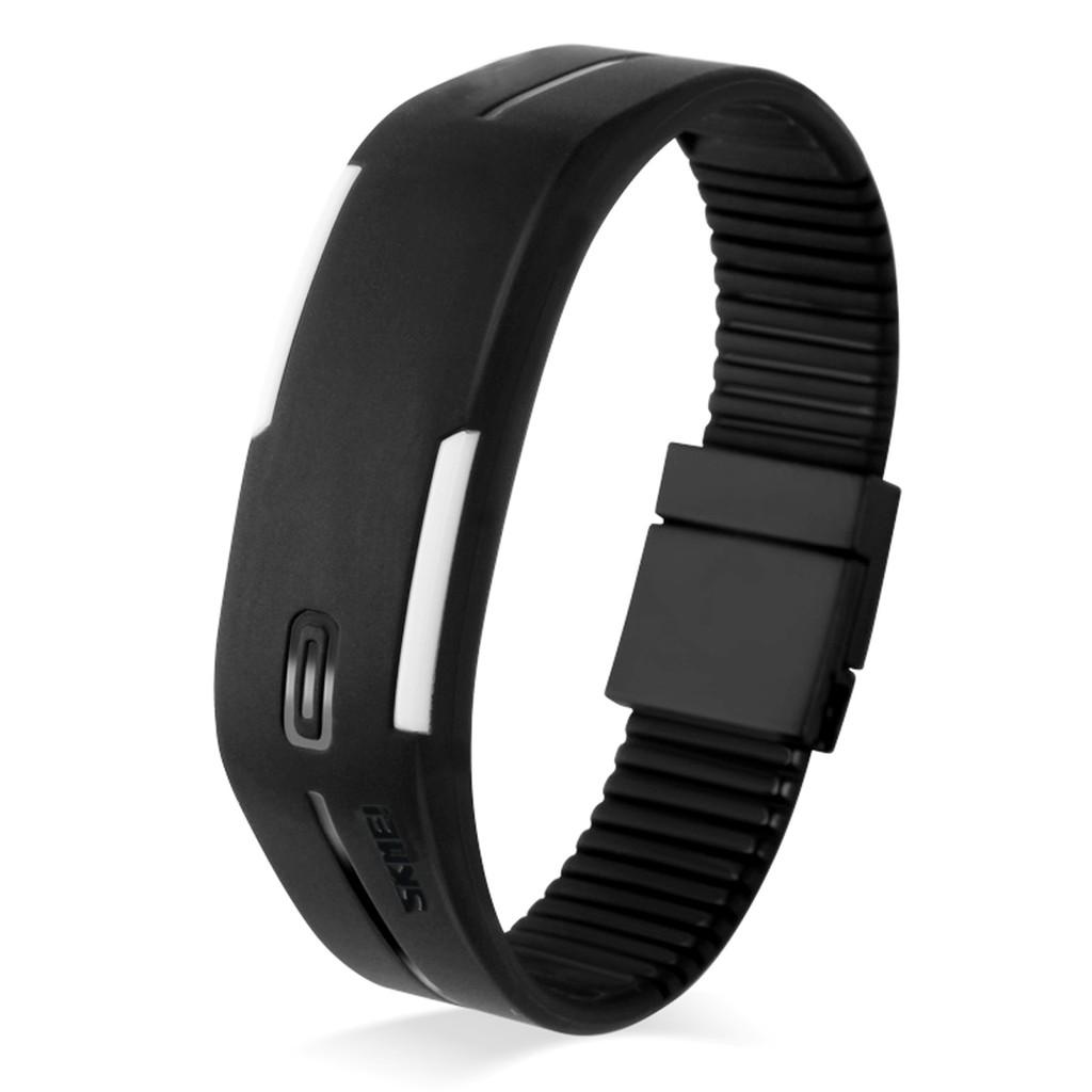 時刻美天然磁石錶帶LED 電子手環手錶黑色