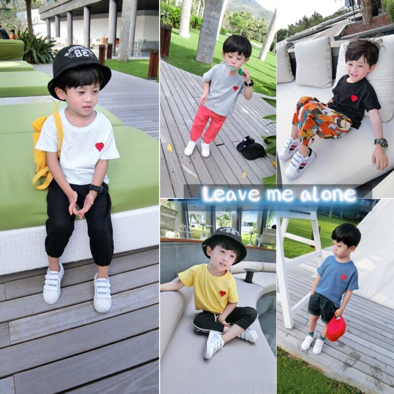 蓁誠 女童男童兒童寶寶小童可愛舒服愛心刺繡撞色短袖圓領T 恤上衣