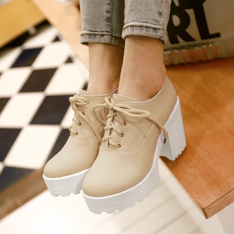 大 女鞋小 高跟鞋 春秋單鞋女鞋子粗跟高跟系帶 圓頭防水臺白色41 大碼43 裸靴 美鞋