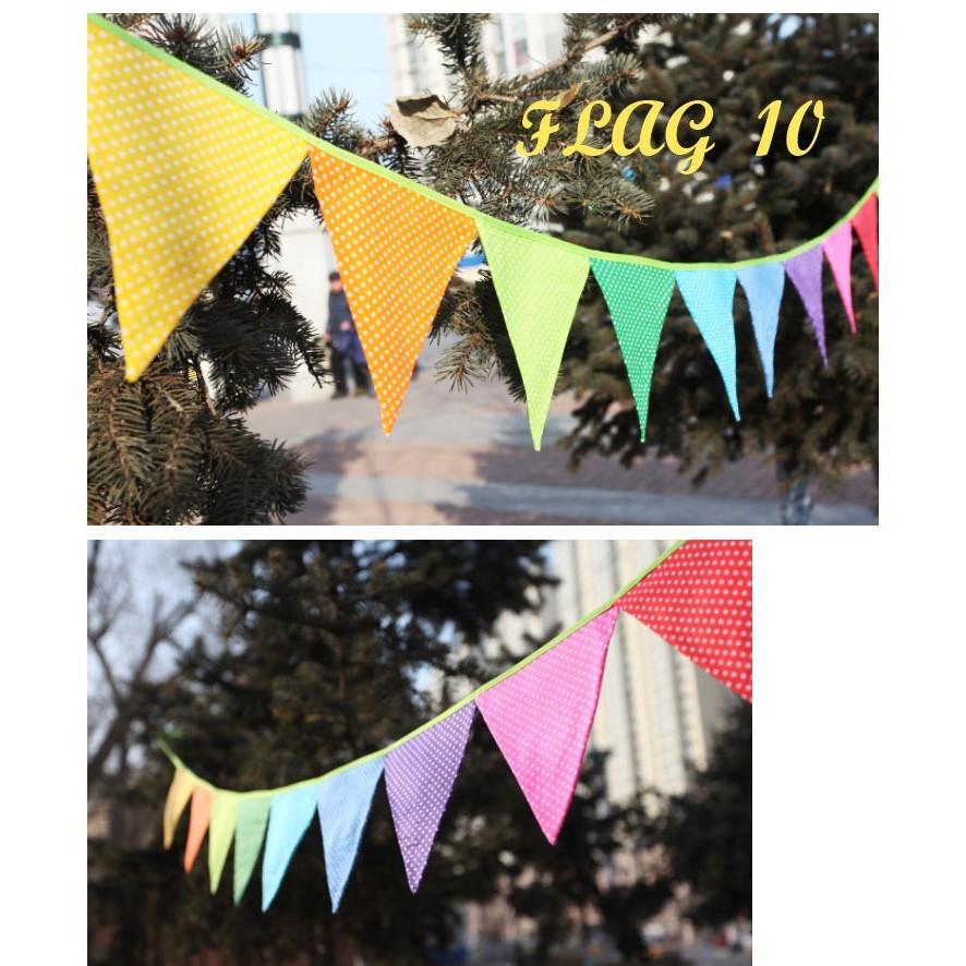 麻子小鋪出口韓國 七彩棉布三角旗嬰兒房佈置露營戶外野營兒童帳篷裝飾生日派對場景佈置慶生節日