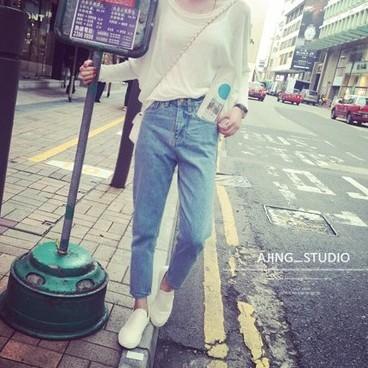 EASON SHOP GU1065 水洗丹寧直筒久分牛仔長褲S 3XL 韓國女修身淺色寬鬆