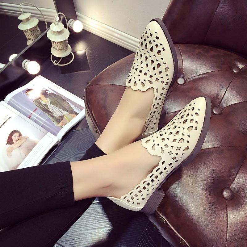 圓頭鏤空透氣花朵學院風尖頭淺口百搭英倫風低跟女單鞋潮尖頭高跟鞋厚底涼鞋厚底跟鞋楔形涼鞋楔形