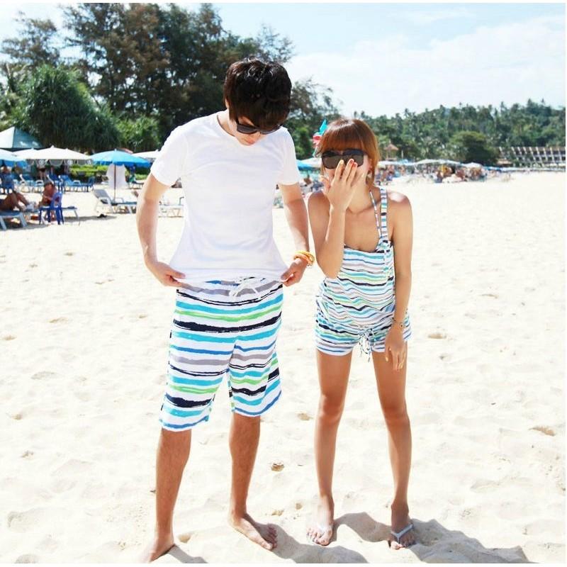 水之舞YK12021309 海灘褲沙灘褲休閒短褲熱褲L XL 可搭情侶款比基尼平口褲