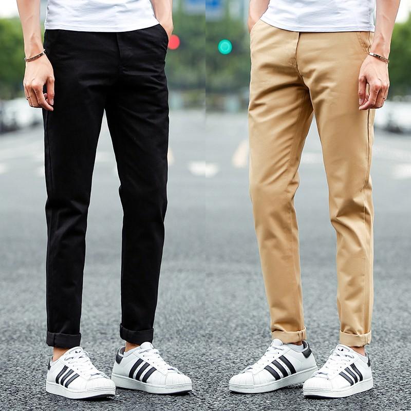 加大碼男士純棉 褲男士修身小直筒褲