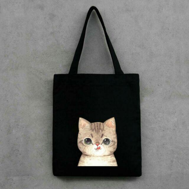小清新文藝風學院風可愛貓咪喵喵喵星人肩背包側背包帆布包手提袋 袋書包容量大耐用