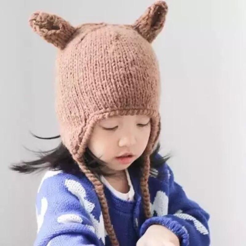 小耳朵遮耳毛線帽