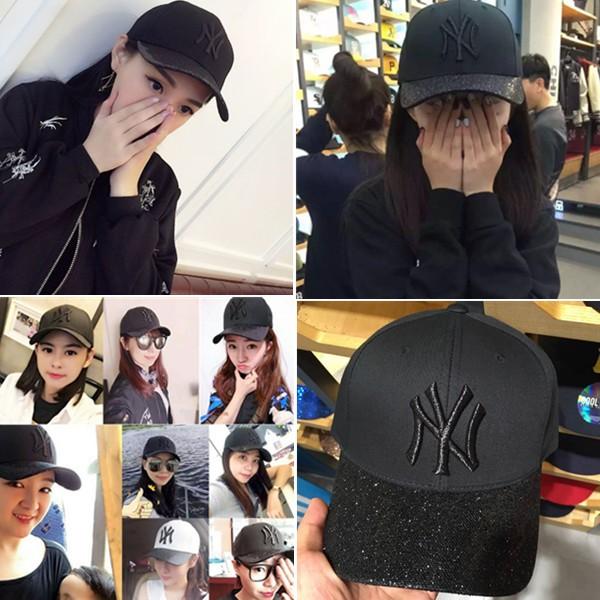 New Era NY 黑色金片亮片9Forty Cap 紐約洋基男女棒球老帽韓國街頭