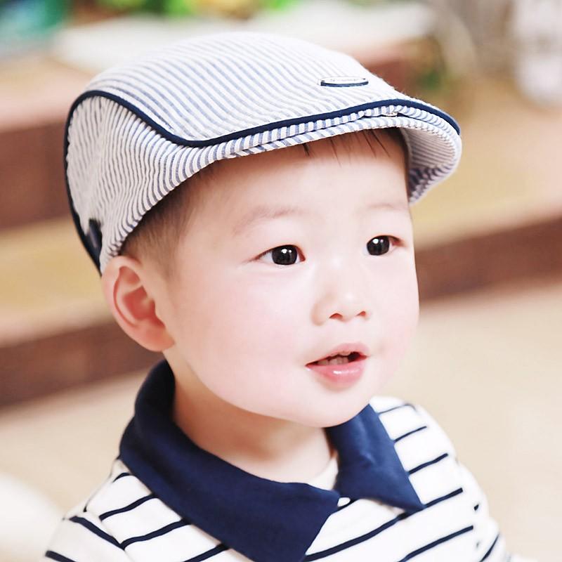 2016 韓國春秋款童帽男寶寶條紋貝雷帽子嬰兒童遮陽鴨舌帽