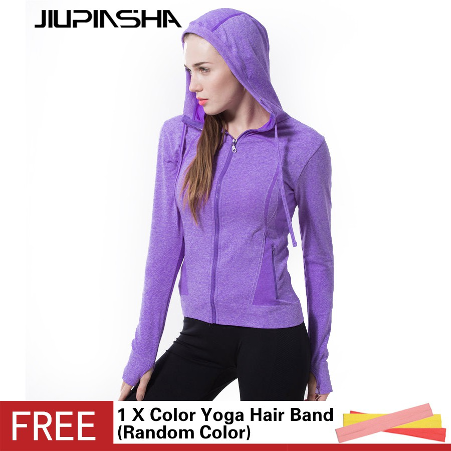女純色 瑜伽服健身跑步速乾長袖連帽開衫外套帶口袋拉鍊衛衣紫色
