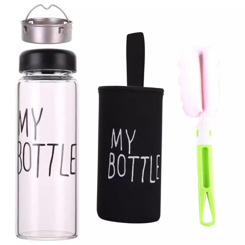 ‼️ 送濾茶隔‼️黑灰 ✅ 透明玻璃水杯五色送杯刷子杯套or 提袋my bottle