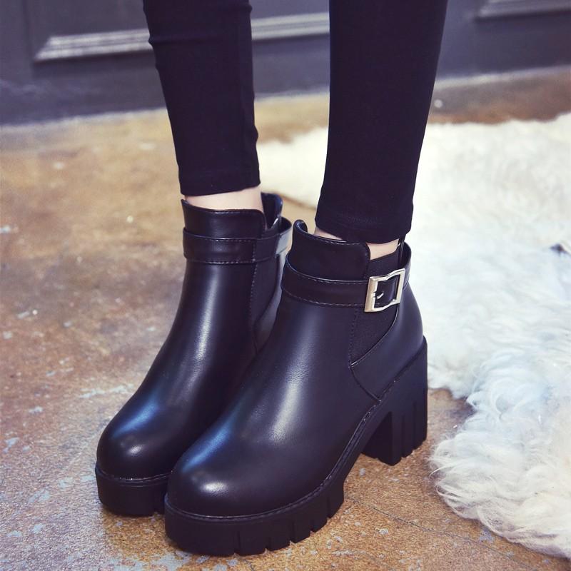 智慧baby  馬丁靴女英倫風皮帶扣松緊帶短靴粗跟瘦腿靴靴子裸靴短靴長靴雨靴雪靴過膝靴短靴