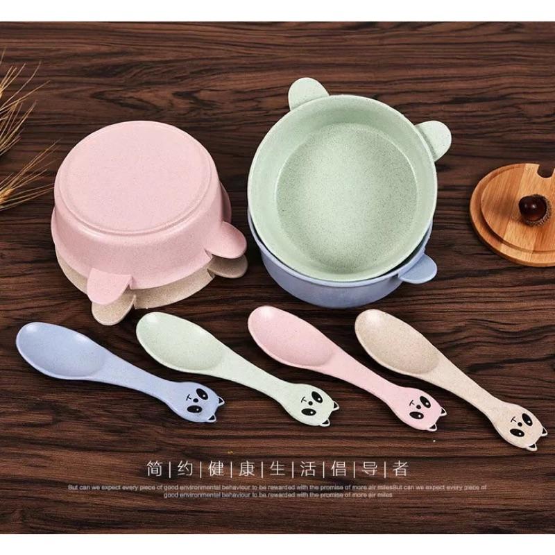 ~ ~環保小麥桔梗兒童碗熊貓餐具碗米飯碗零食碗小麥餐具套裝湯碗嬰兒餐具組碗湯匙一組