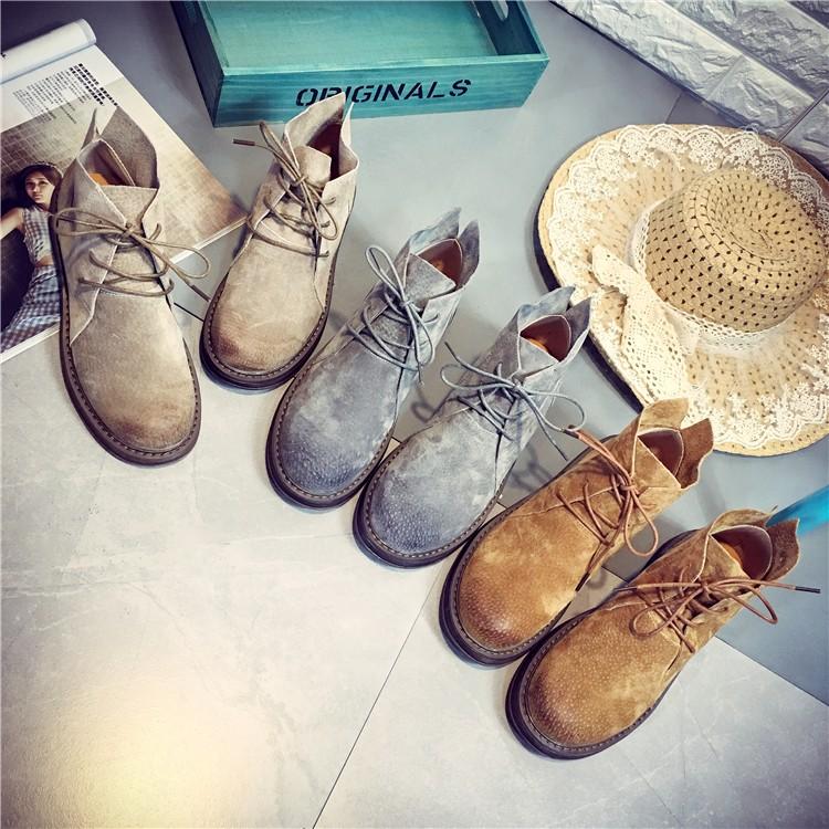平底復古馬丁靴女系帶厚底英倫風學生皮短筒靴子潮女鞋女靴短靴長靴休閒鞋馬丁靴中筒靴英倫氣質鞋
