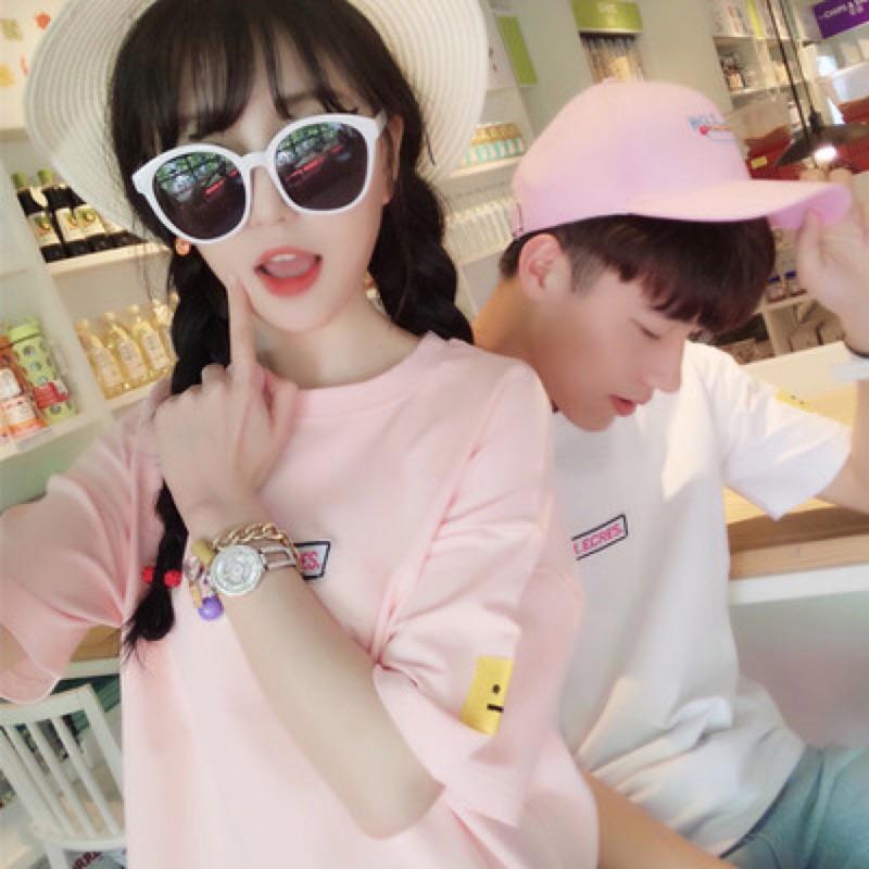 2017 情侶裝 小清新刺繡字母短袖T 恤衫學生班服打底衫