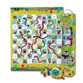 風車親子桌遊蛇棋遊戲FOOD 超人1 個遊戲毯、1 個骰子轉盤、4 個遊戲棋