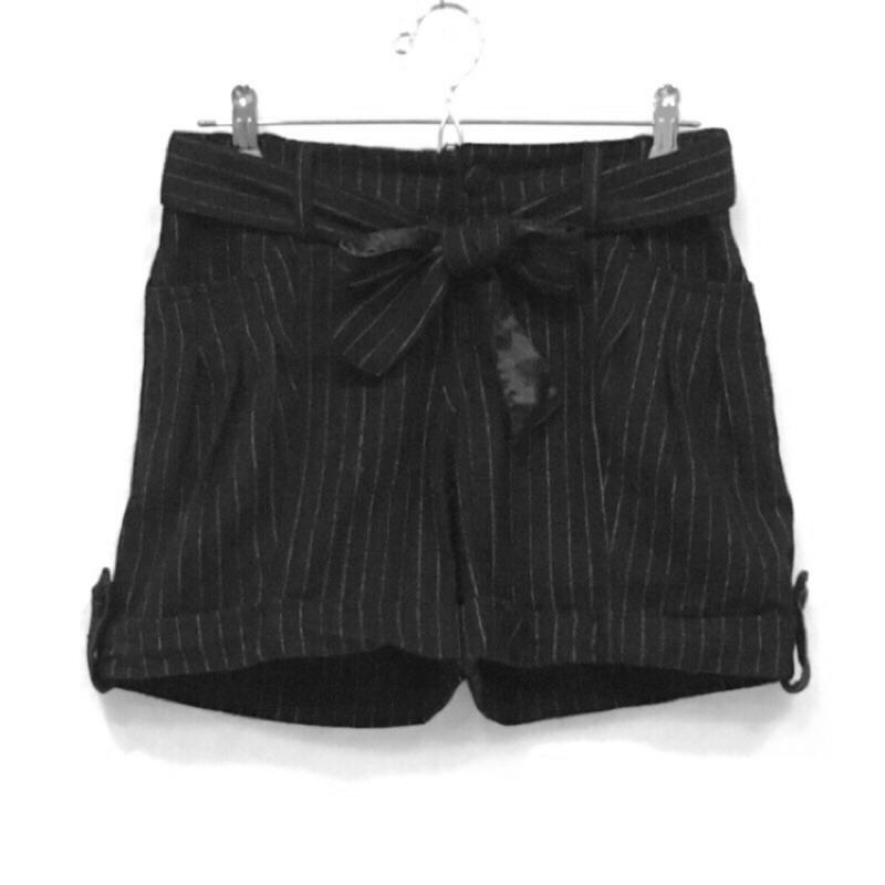 蝴蝶結西裝短褲綁帶毛料條紋學院風格