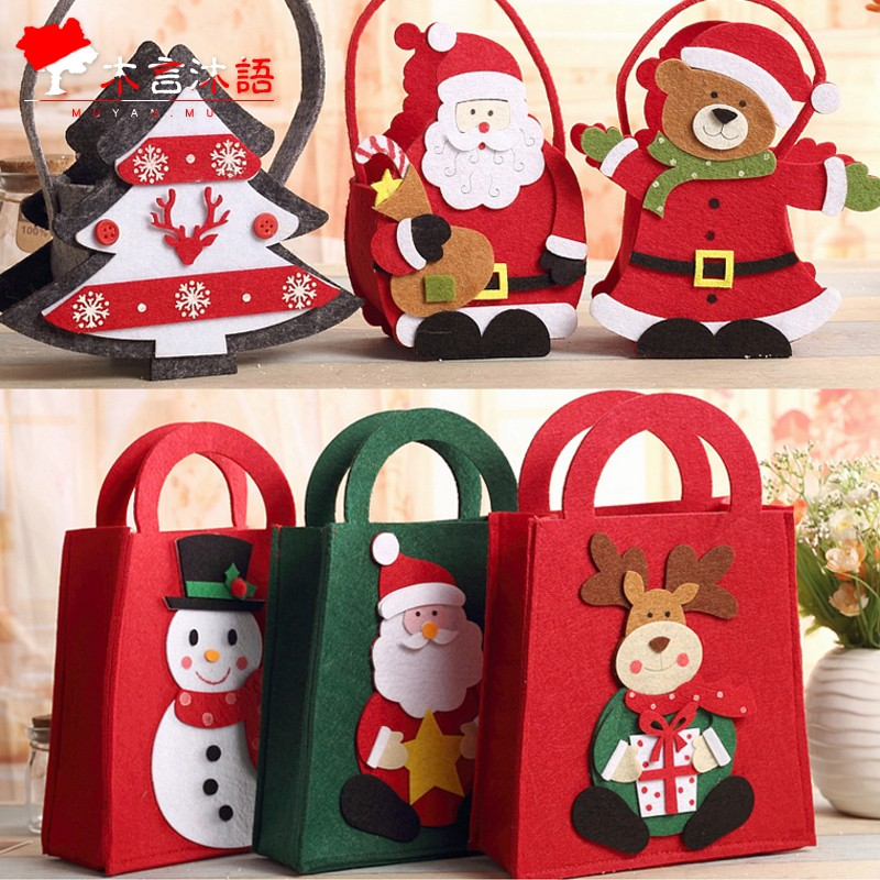 木言沐語 兒童聖誕節 袋 袋無紡布高檔平安夜 袋可愛手提紙袋