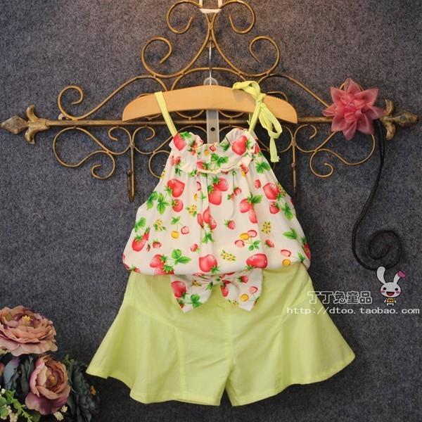 夏裝 女童草莓碎花吊帶上衣褲子兒童兩件套裝
