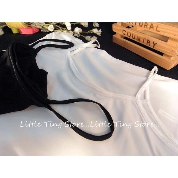 Little Ting Store 優雅 牛奶絲綢布料內搭衣素面緞面細肩帶小可愛黑或白