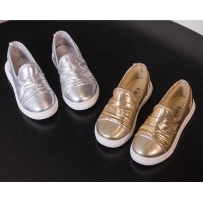 金屬系閃亮皺折帆布鞋板鞋休閒鞋男童鞋女童鞋小童鞋中童鞋21 30