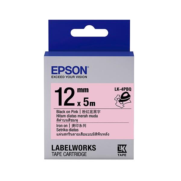EPSON LK 4PBQ C53S654444 標籤帶燙印12mm 粉紅黑