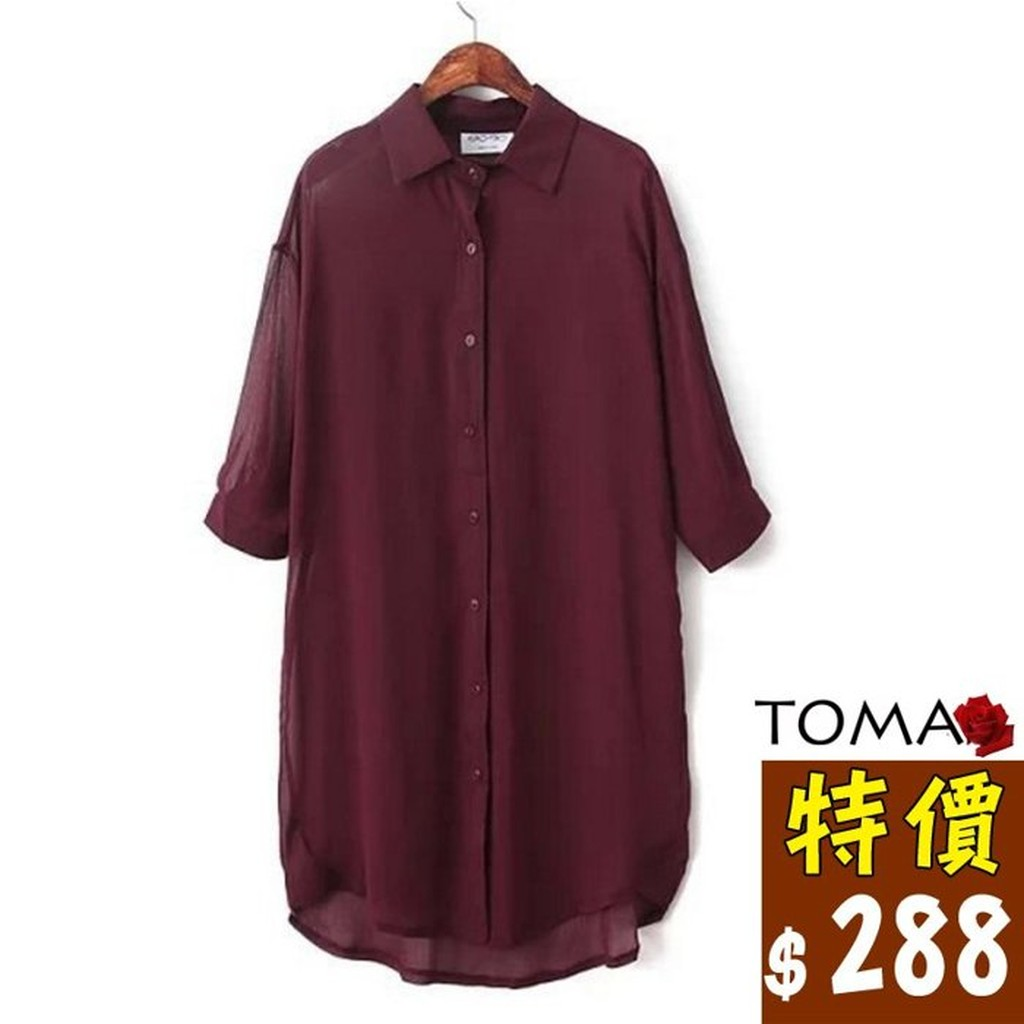 TOMA ~托瑪 美衣LF5763 原單簡約性感細褶細條布紋翻領單排釦前短後長五分袖透膚襯